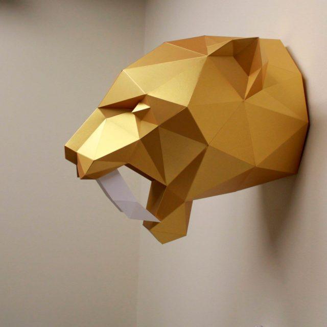 Голова тигра из бумаги