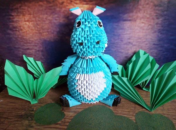 Бегемот из модулей оригами