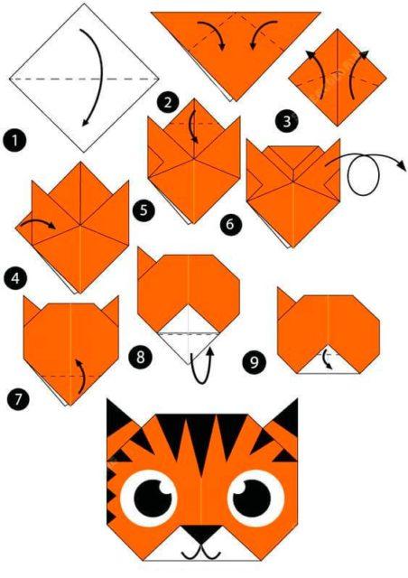 Оригами тигренка