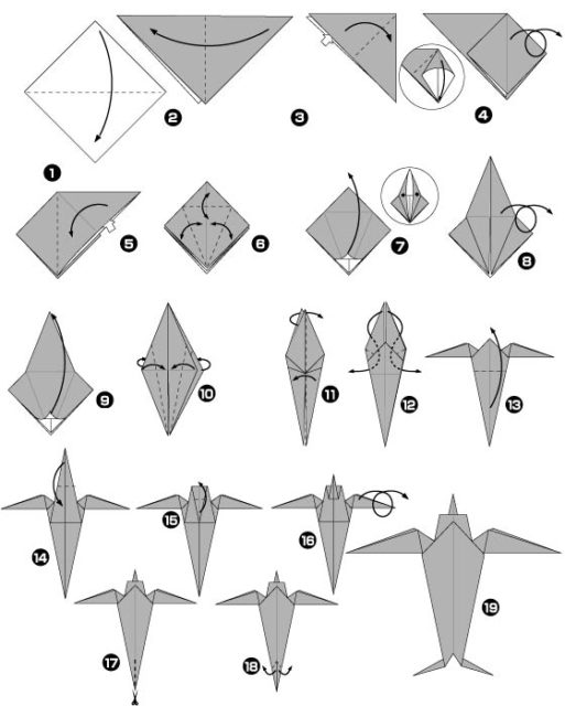 Схема оригами ласточки