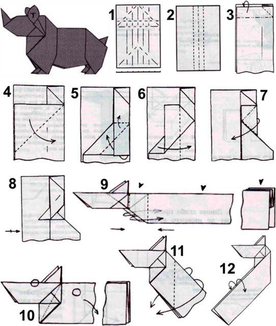 Оригами носорог схема