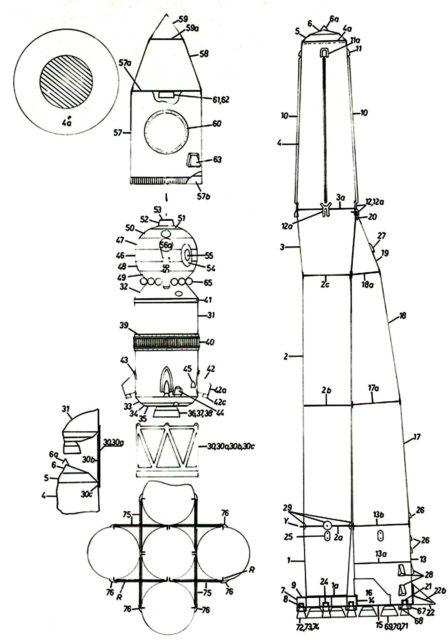 Схема, шаблон ракеты восток