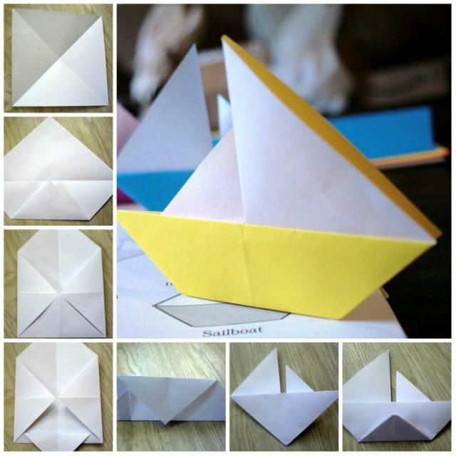 Схема сборки кораблика оригами