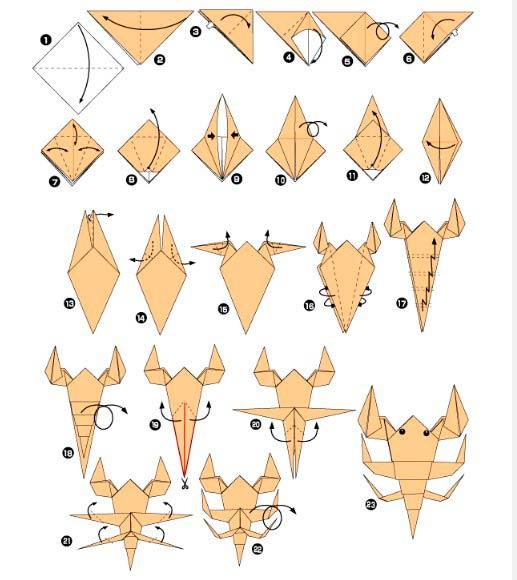 Оригами схема скорпиона
