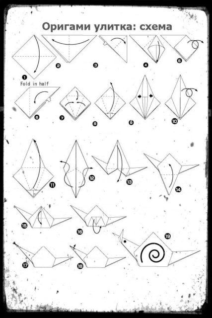 Схема сборки улитки оригами
