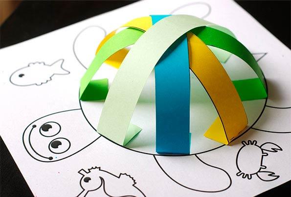 Объемная черепашка с цветным панцирем