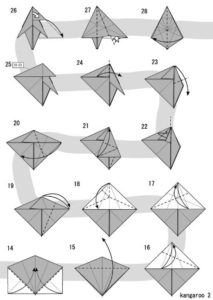 Схема сборки кенгуру в технике оригами