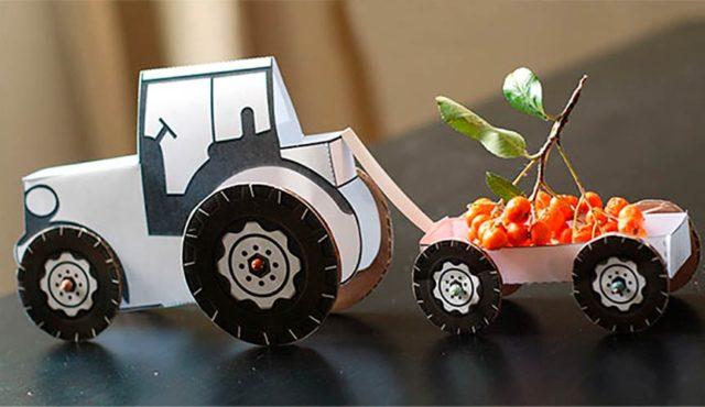 Трактор из бумаги