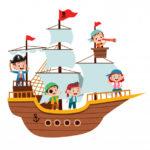 Шаблон пиратского корабля с пиратами