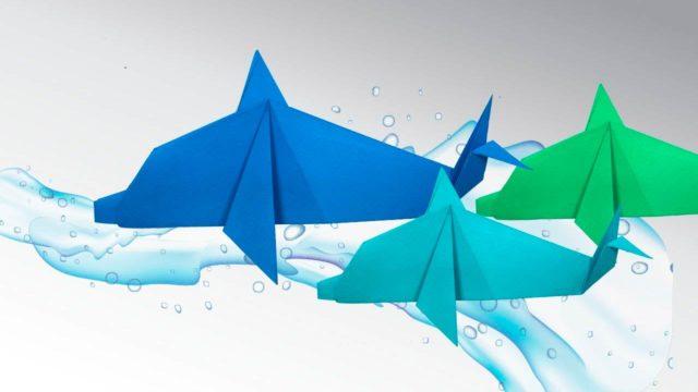 Дельфины из бумаги