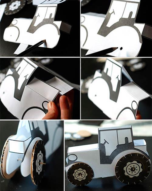 Сборка трактора из бумаги