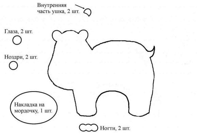 Шаблон бегемота для вырезания