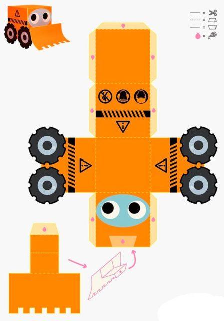 Развертка трактора для склейки