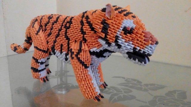 Тигр из модульного оригами