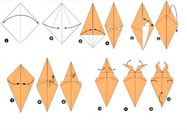 Жук оригами, схема