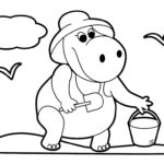 Шаблон, раскраска бегемота