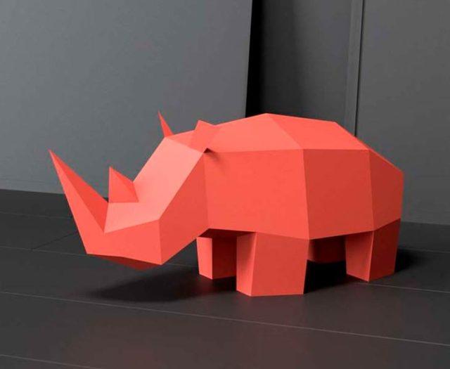 3д носорог в технике паперкрафт
