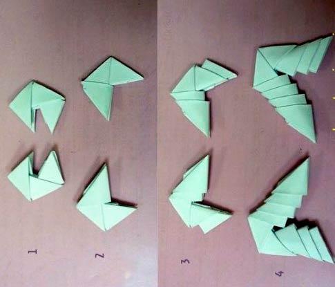 Сборка скорпиона из модулей оригами