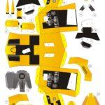 Развертка, шаблоны Бамблби для распечатки и склеивания