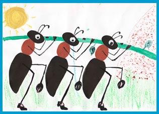 Аппликация муравьев