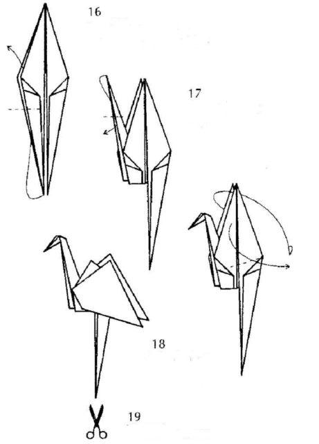 Схема оригами цапля
