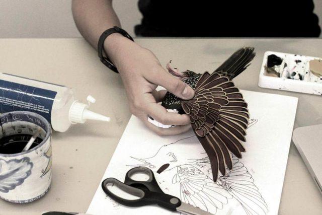 Создание птицы из бумаги