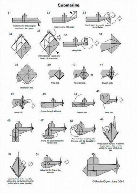 Схемы оригами подводной лодки, субмарины