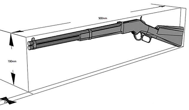 Чертеж ружья с размерами