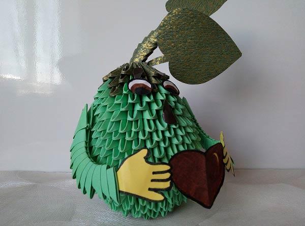 Авокадо из модулей оригами