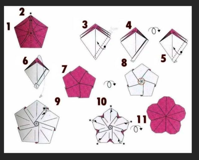 схема сборки фиалки оригами