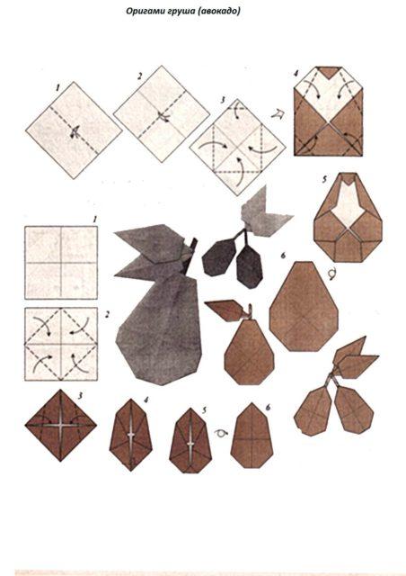 Оригами схема: груша.