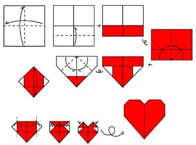 Сердце из салфетки: схема сборки оригами