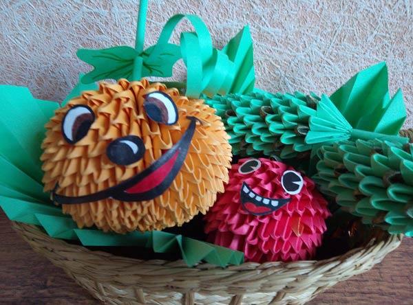 Овощи из модулей оригами