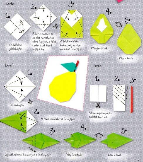 Схема груши оригами