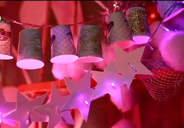 Новогодняя гирлянда из бумажных стаканчиков