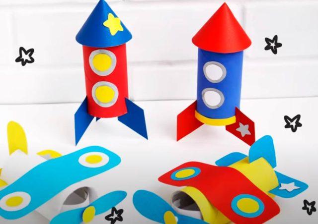 Космический корабль/ракета из бумажных втулок
