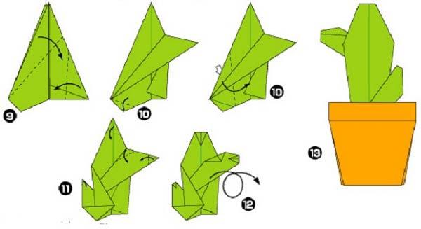 Схема сборки кактуса оригами