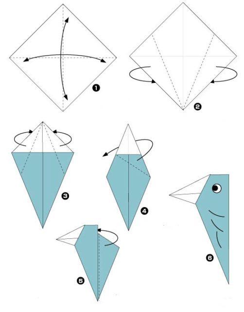 Схема оригами дятла