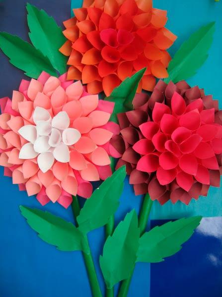 Аппликация цветов георгина
