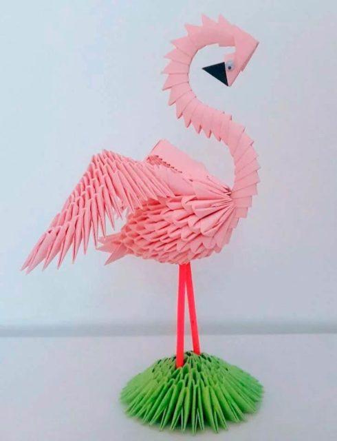 Фламинго модульное оригами