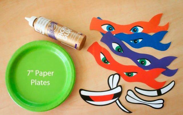 Создание черепашек ниндзя из бумажных тарелок
