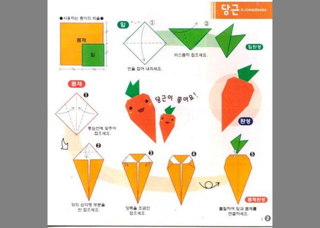 Морковка оригами, схема