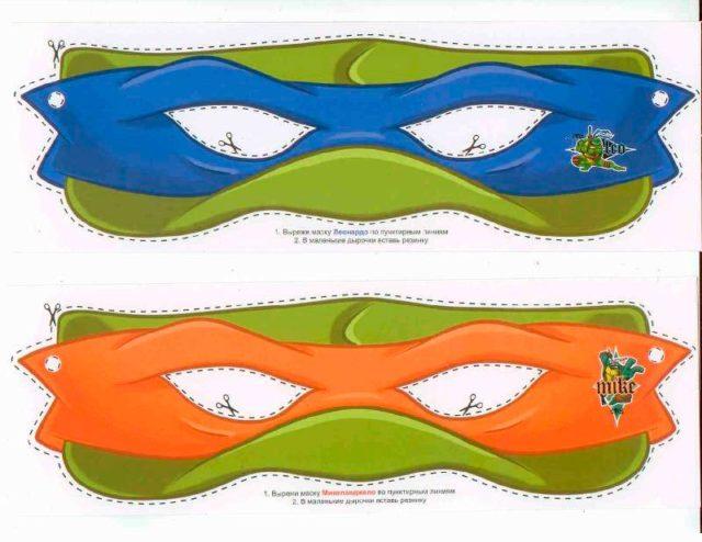 Шаблон масок черепашек ниндзя для вырезания