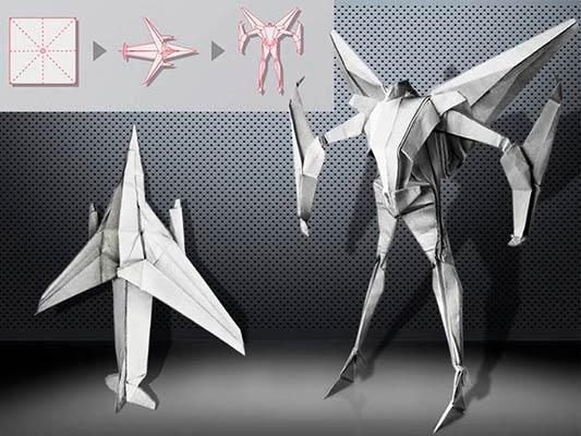 Оригами робот самолет
