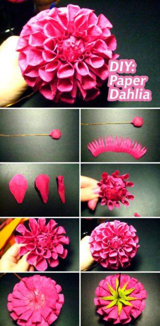 Схема сборки цветка георгина из бумаги