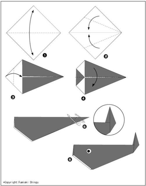 Схема оригами кита