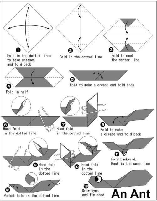 Схема оригами муравей