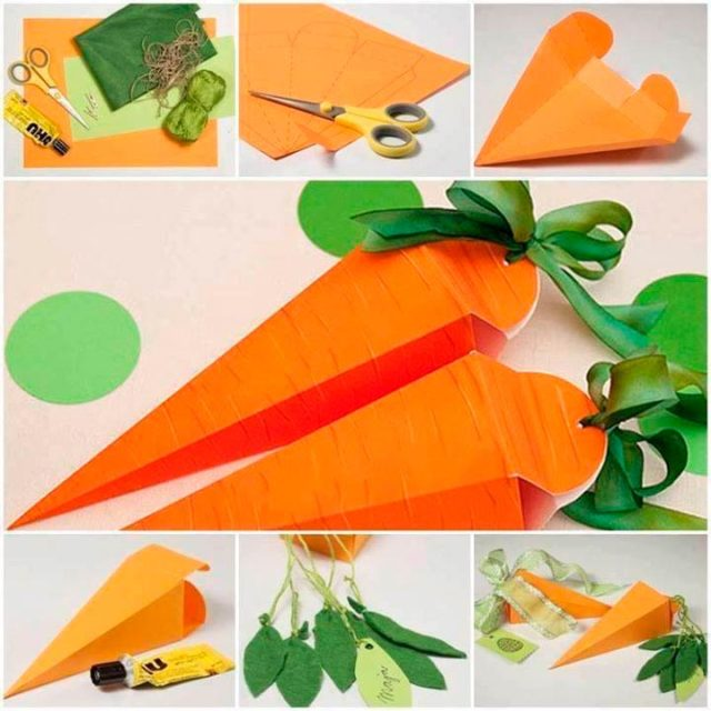 Объемная морковка из бумаги