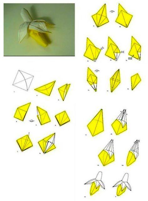 Оригами банан, схема