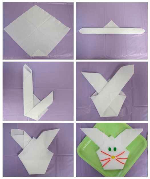 Мордочка зайца из салфетки, схема оригами